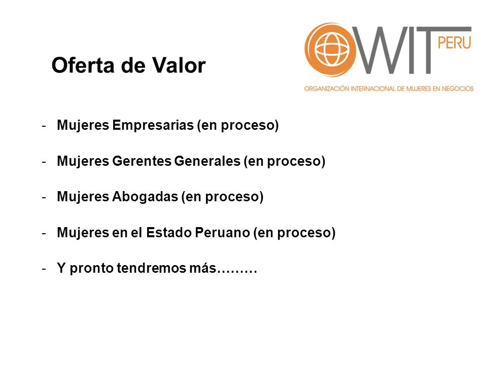 Oferta de Valor Mujeres Empresarias (en proceso)