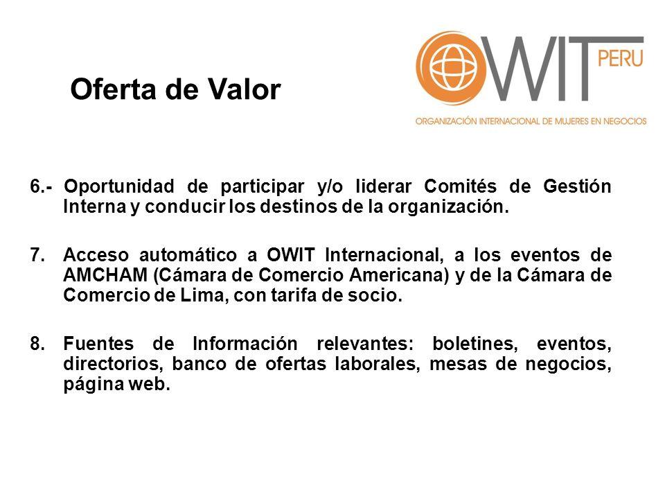 Oferta de Valor 6.- Oportunidad de participar y/o liderar Comités de Gestión Interna y conducir los destinos de la organización.