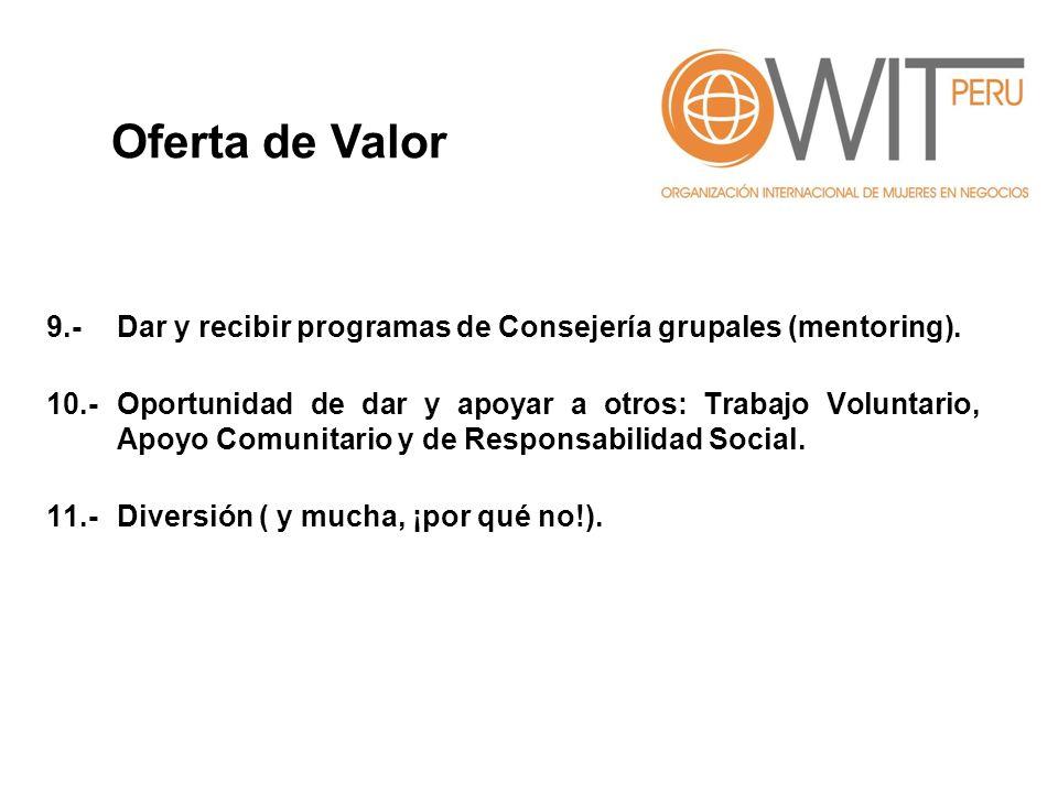 Oferta de Valor 9.- Dar y recibir programas de Consejería grupales (mentoring).