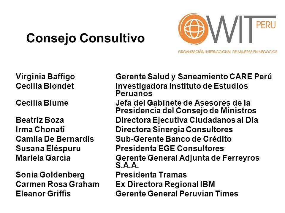 Consejo Consultivo Virginia Baffigo Gerente Salud y Saneamiento CARE Perú. Cecilia Blondet Investigadora Instituto de Estudios Peruanos.