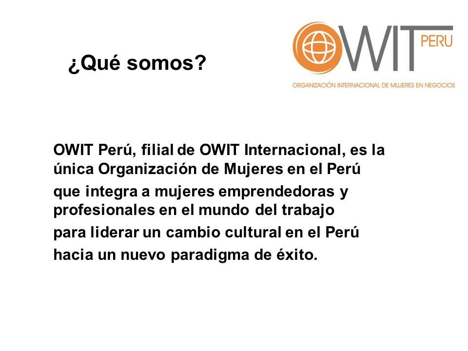 ¿Qué somos OWIT Perú, filial de OWIT Internacional, es la única Organización de Mujeres en el Perú.