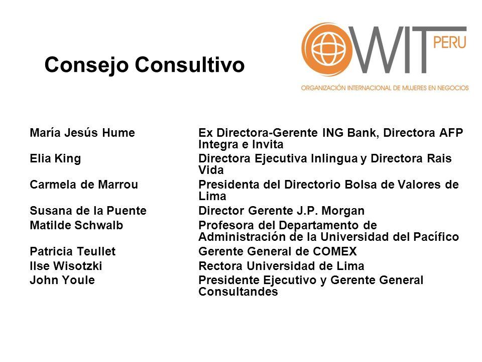 Consejo Consultivo María Jesús Hume Ex Directora-Gerente ING Bank, Directora AFP Integra e Invita.