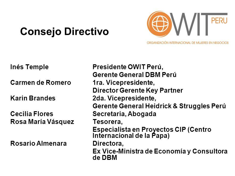 Consejo Directivo Inés Temple Presidente OWIT Perú,