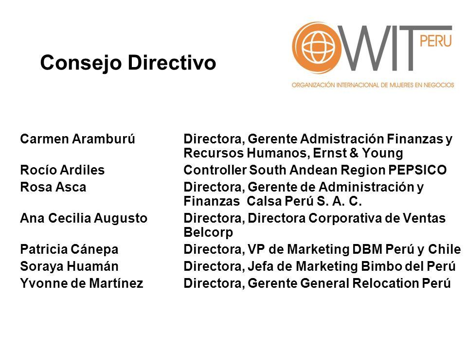 Consejo Directivo Carmen Aramburú Directora, Gerente Admistración Finanzas y Recursos Humanos, Ernst & Young.