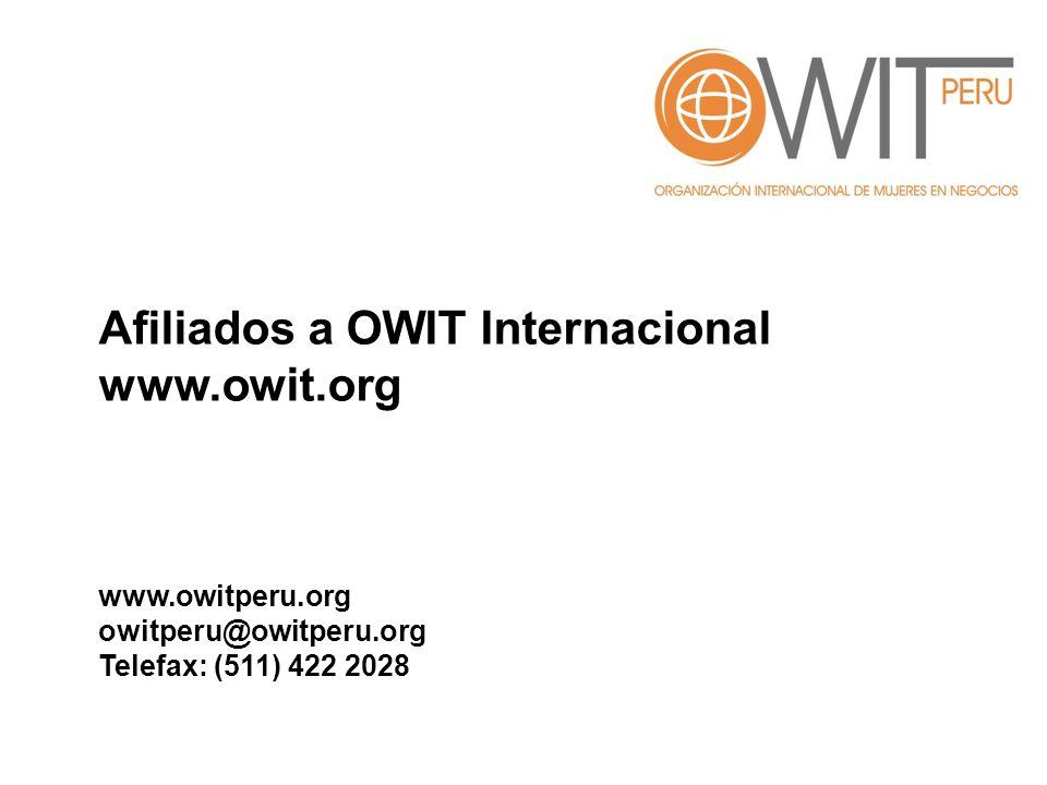 Afiliados a OWIT Internacional www.owit.org