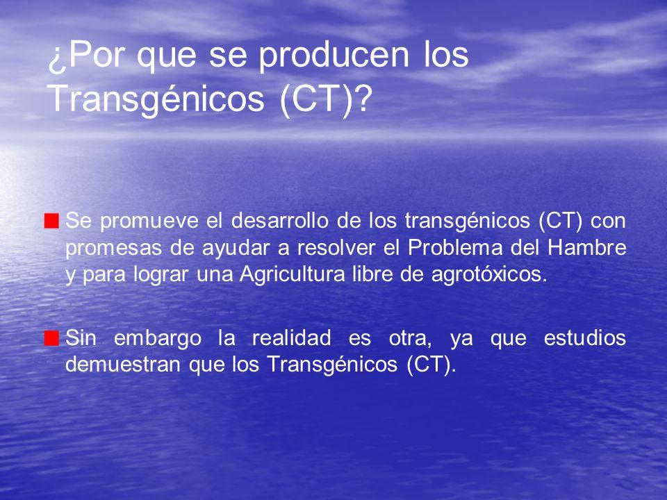 ¿Por que se producen los Transgénicos (CT)