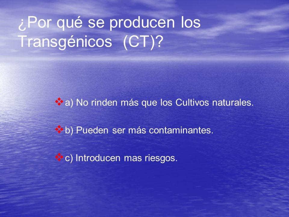 ¿Por qué se producen los Transgénicos (CT)