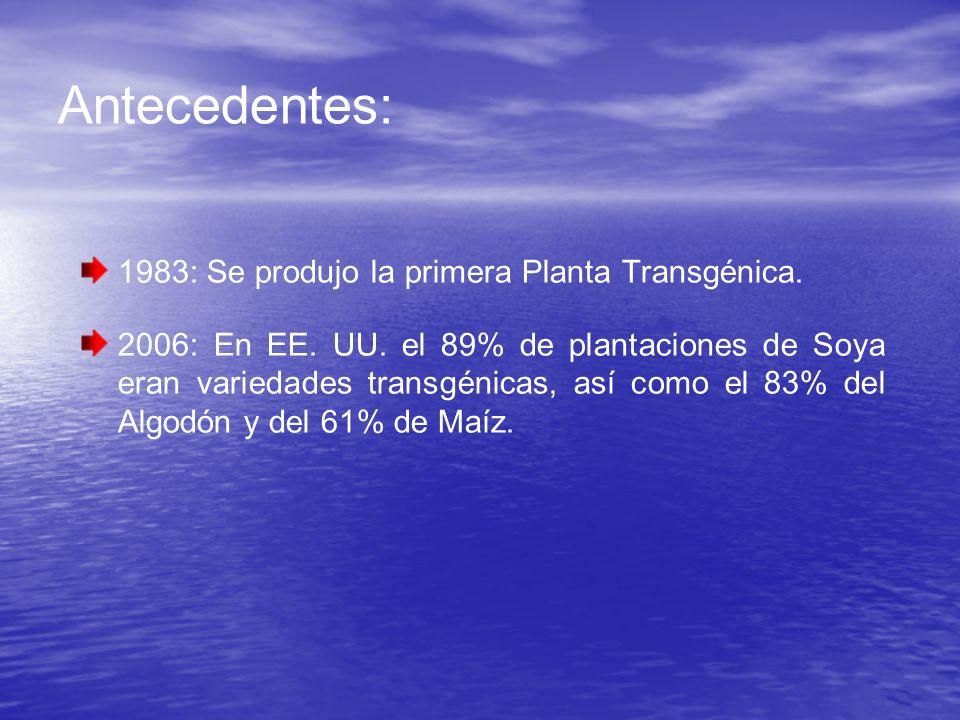 Antecedentes: 1983: Se produjo la primera Planta Transgénica.