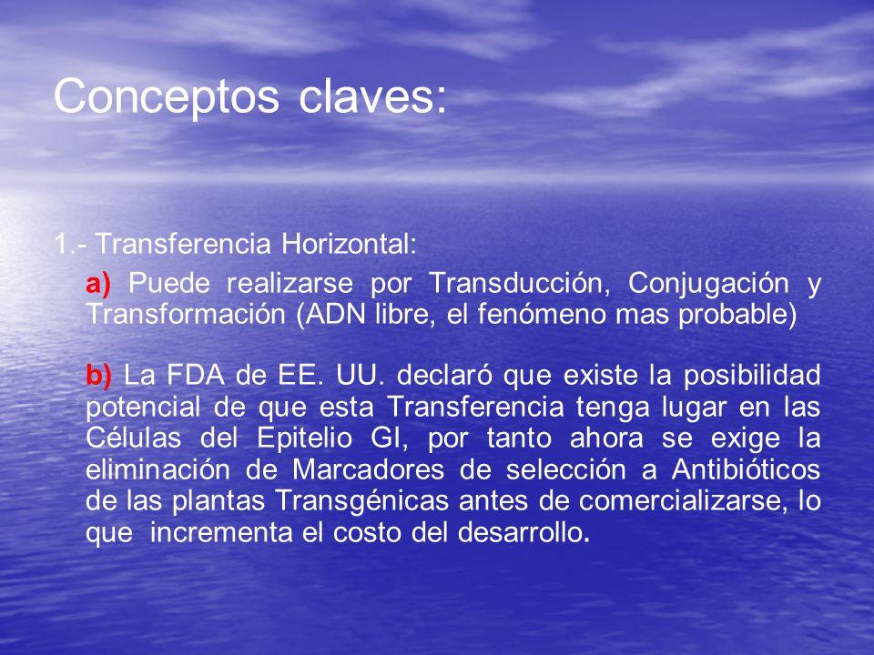 Conceptos claves: 1.- Transferencia Horizontal: