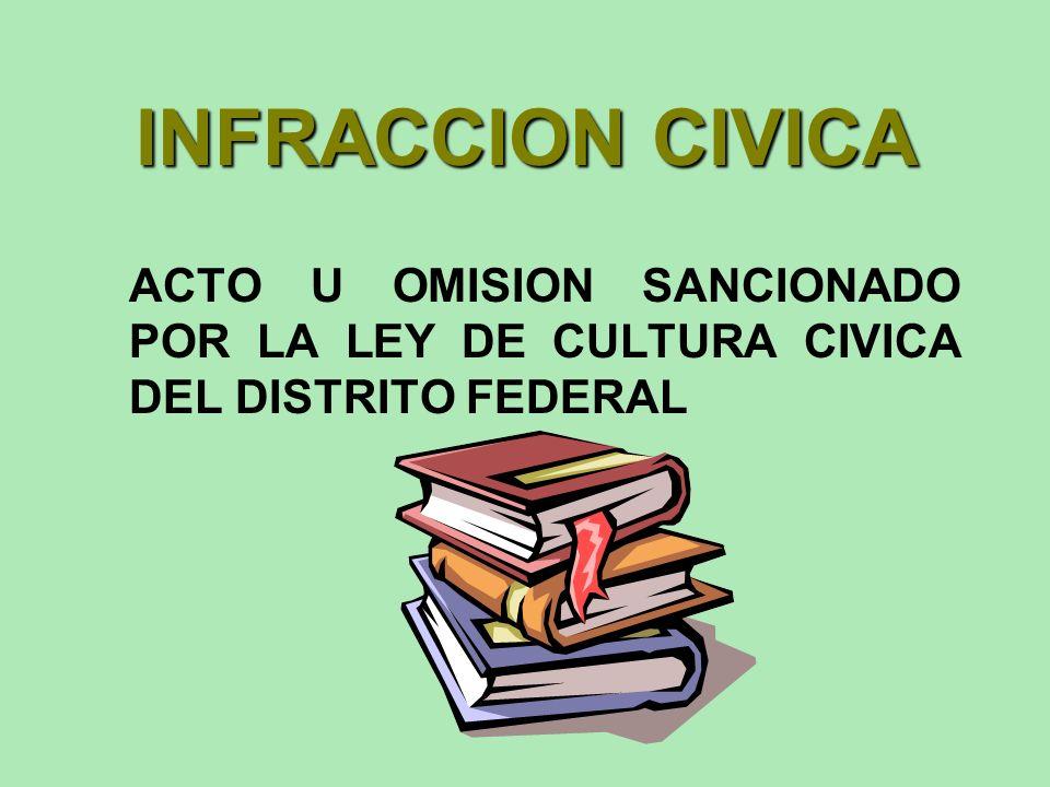 INFRACCION CIVICA ACTO U OMISION SANCIONADO POR LA LEY DE CULTURA CIVICA DEL DISTRITO FEDERAL