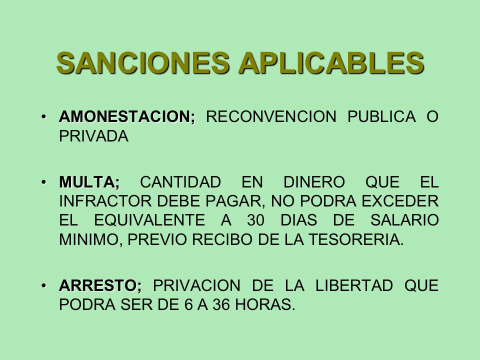 SANCIONES APLICABLES AMONESTACION; RECONVENCION PUBLICA O PRIVADA