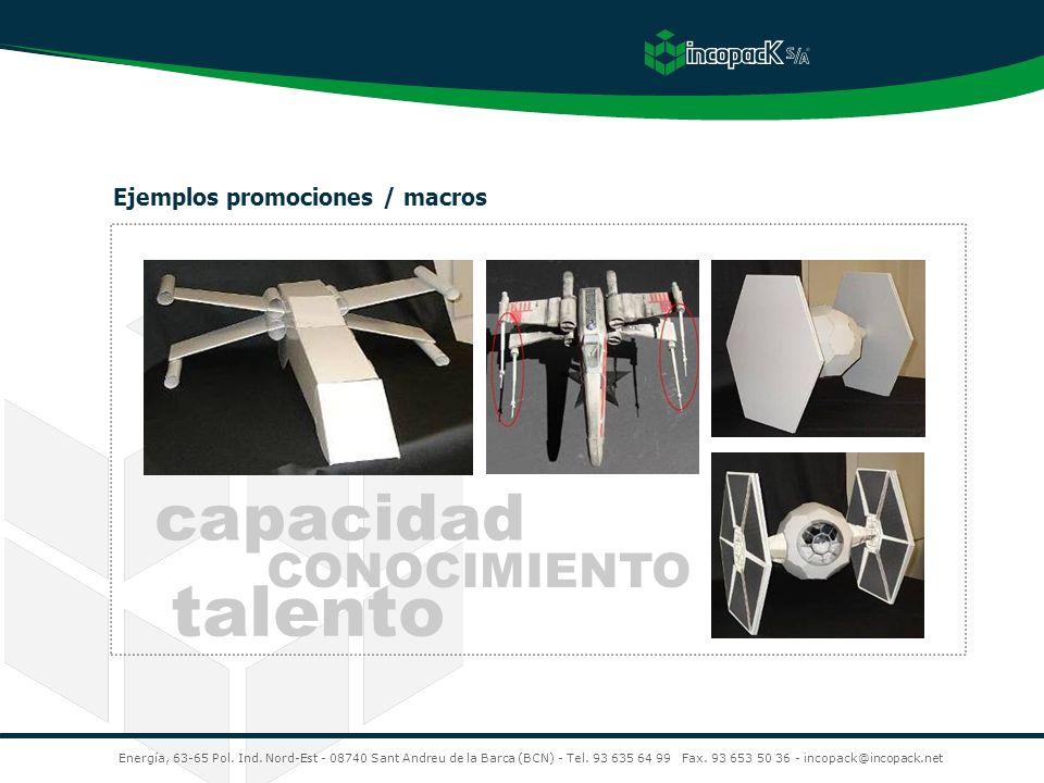 talento capacidad CONOCIMIENTO Ejemplos promociones / macros