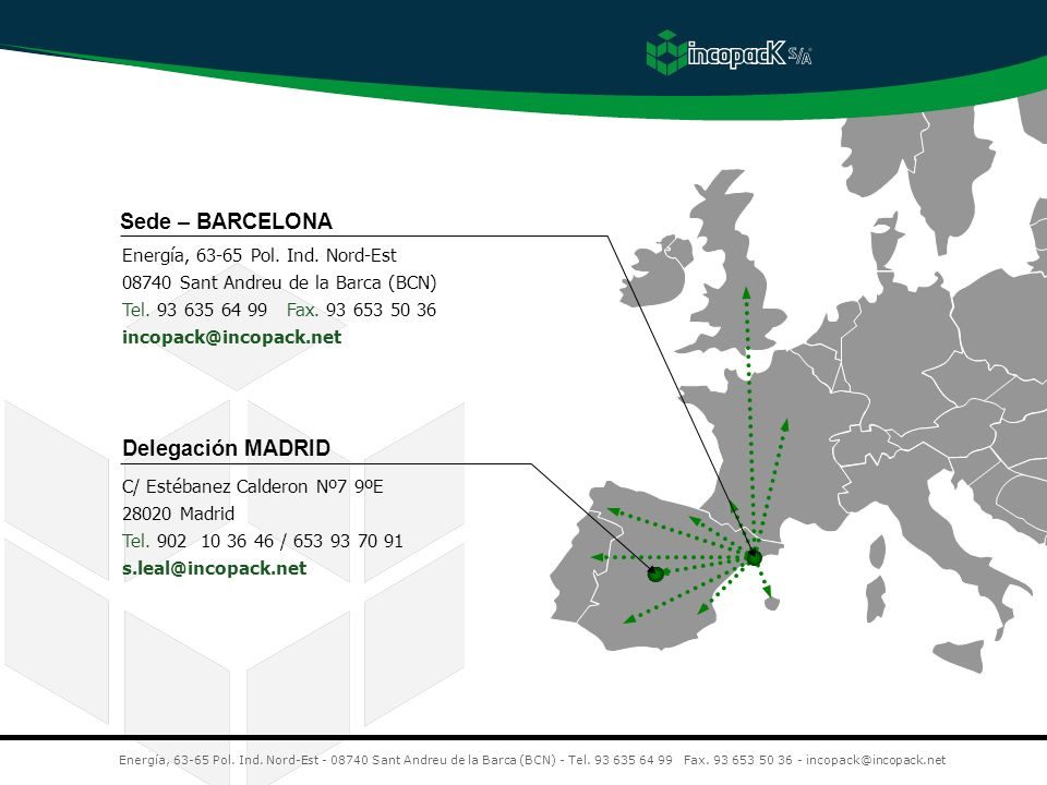 Sede – BARCELONA Delegación MADRID Energía, 63-65 Pol. Ind. Nord-Est