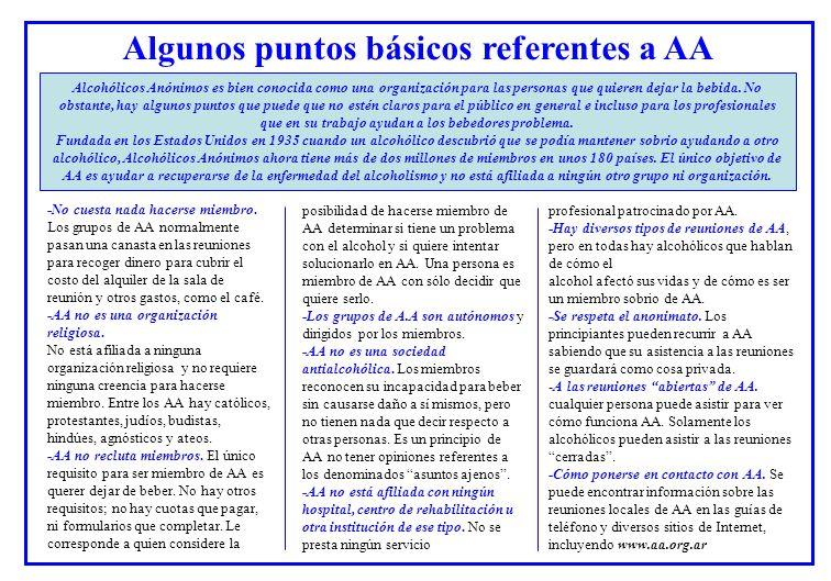 Algunos puntos básicos referentes a AA