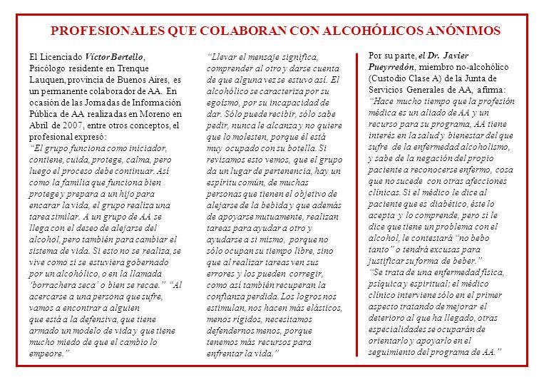 PROFESIONALES QUE COLABORAN CON ALCOHÓLICOS ANÓNIMOS
