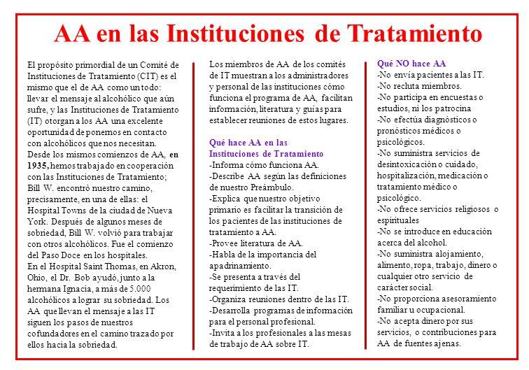 AA en las Instituciones de Tratamiento