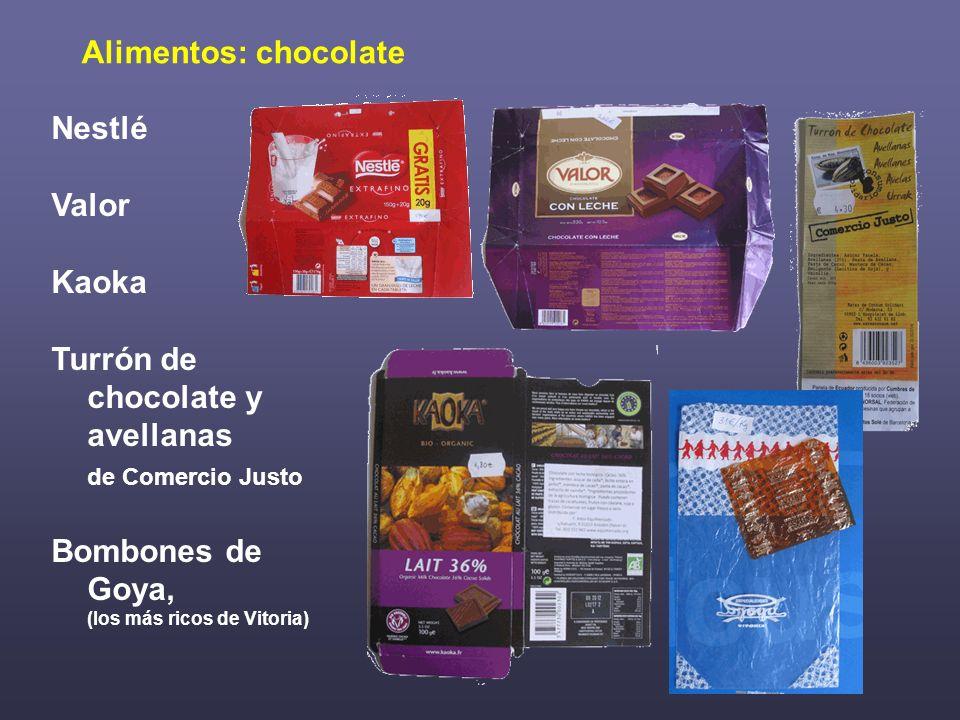 Alimentos: chocolate Nestlé. Valor. Kaoka. Turrón de chocolate y avellanas. de Comercio Justo.