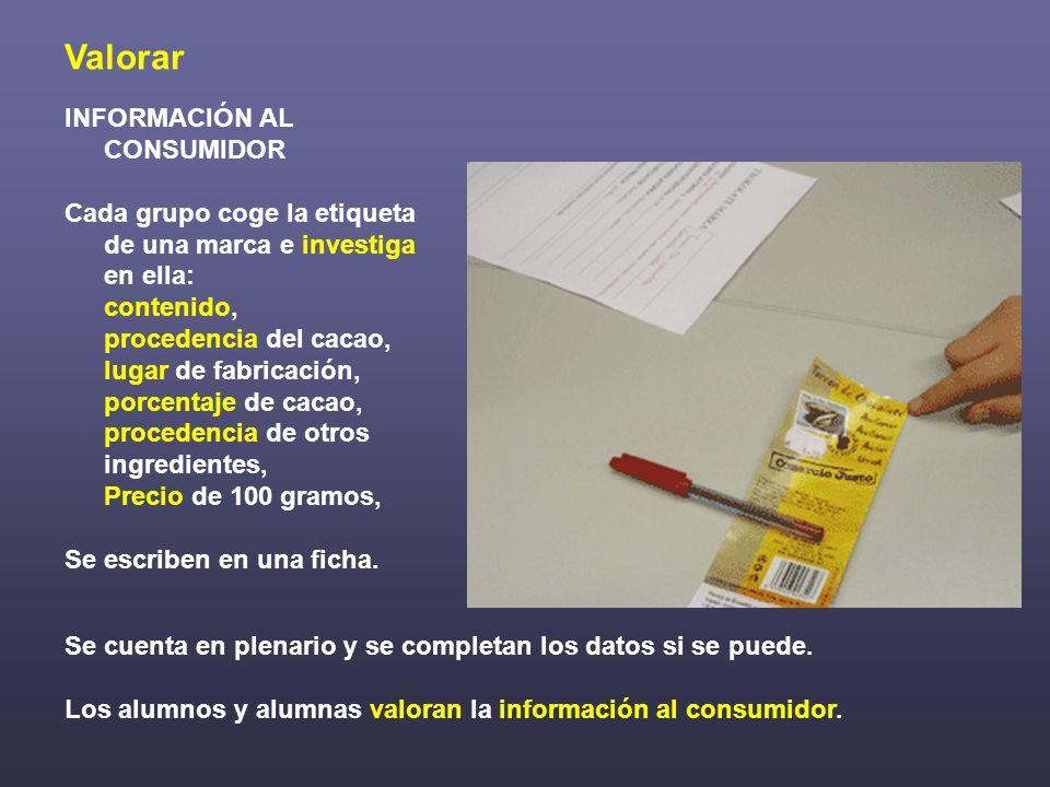 Valorar INFORMACIÓN AL CONSUMIDOR