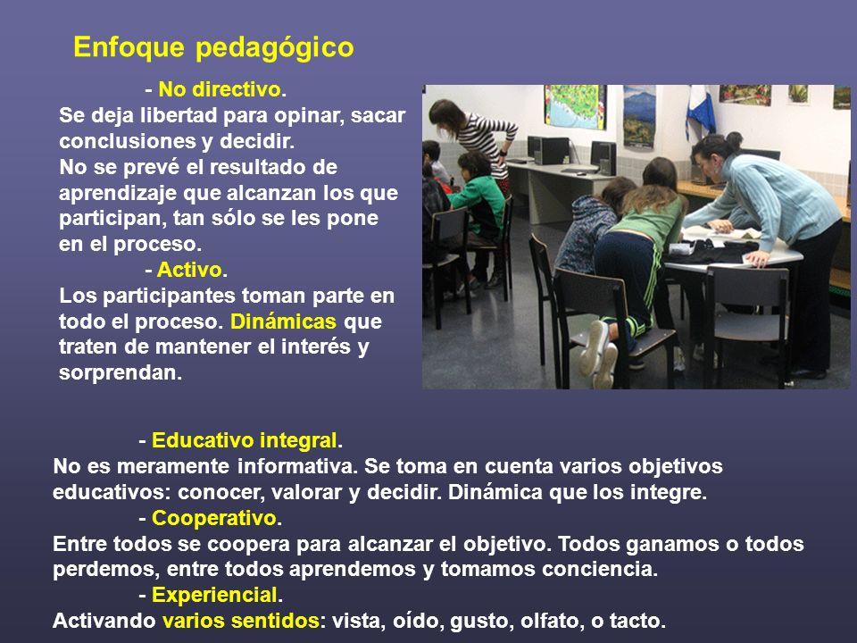 Enfoque pedagógico - No directivo. Se deja libertad para opinar, sacar conclusiones y decidir.