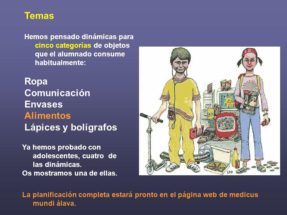 Temas Ropa Comunicación Envases Alimentos Lápices y bolígrafos