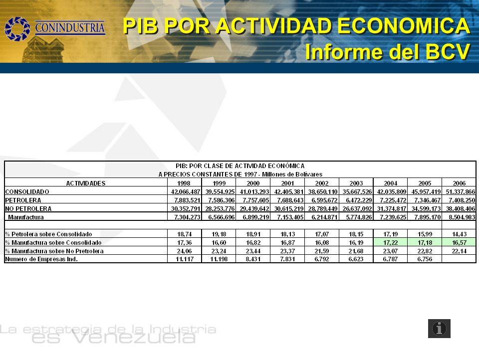 PIB POR ACTIVIDAD ECONOMICA Informe del BCV