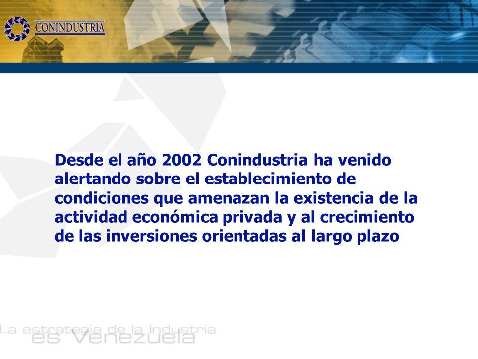 Desde el año 2002 Conindustria ha venido alertando sobre el establecimiento de condiciones que amenazan la existencia de la actividad económica privada y al crecimiento de las inversiones orientadas al largo plazo