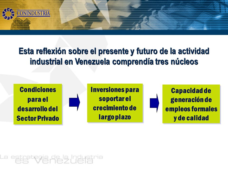 Esta reflexión sobre el presente y futuro de la actividad industrial en Venezuela comprendía tres núcleos