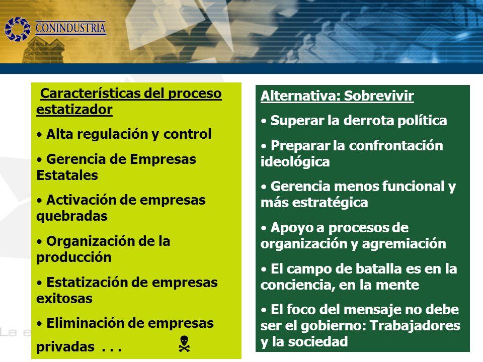Características del proceso estatizador Alta regulación y control
