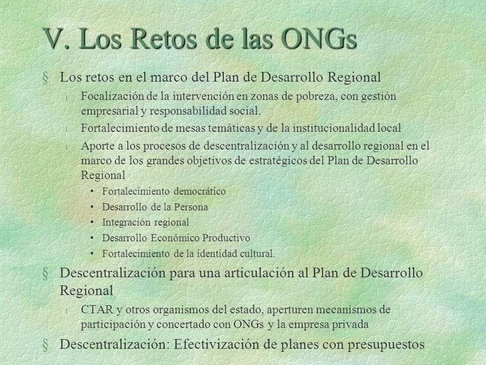 V. Los Retos de las ONGs Los retos en el marco del Plan de Desarrollo Regional.