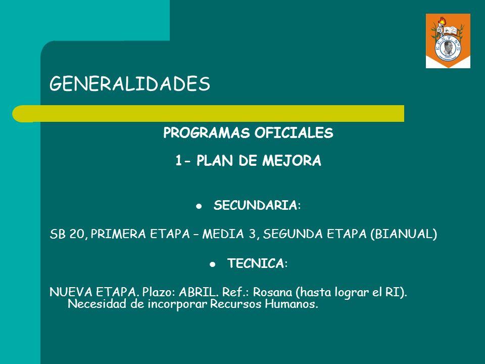 GENERALIDADES PROGRAMAS OFICIALES 1- PLAN DE MEJORA SECUNDARIA: