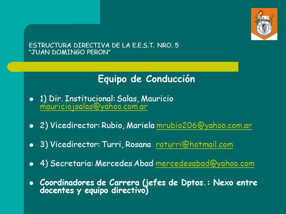 ESTRUCTURA DIRECTIVA DE LA E.E.S.T. NRO. 5 JUAN DOMINGO PERON