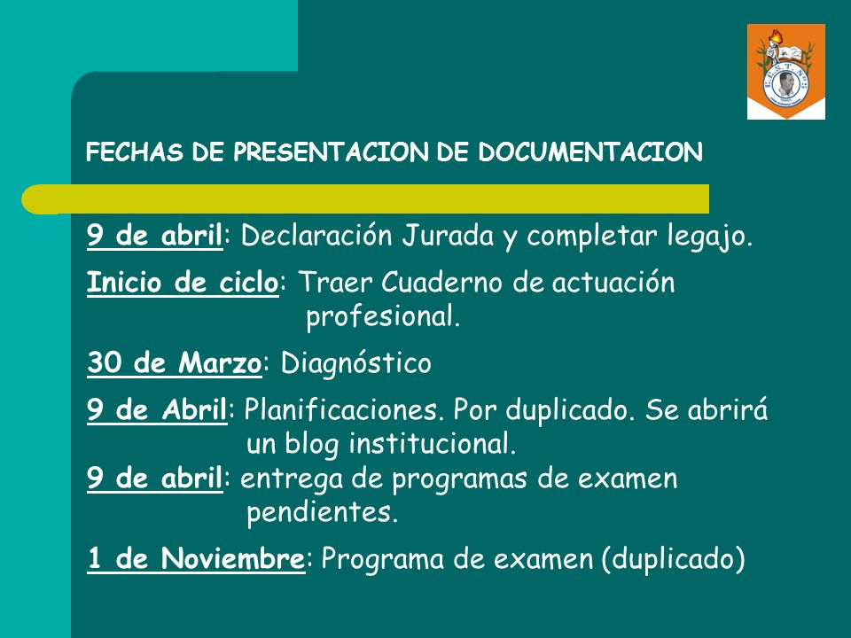 FECHAS DE PRESENTACION DE DOCUMENTACION
