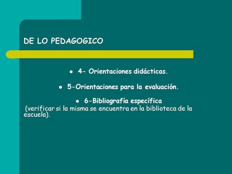 DE LO PEDAGOGICO 4- Orientaciones didácticas.