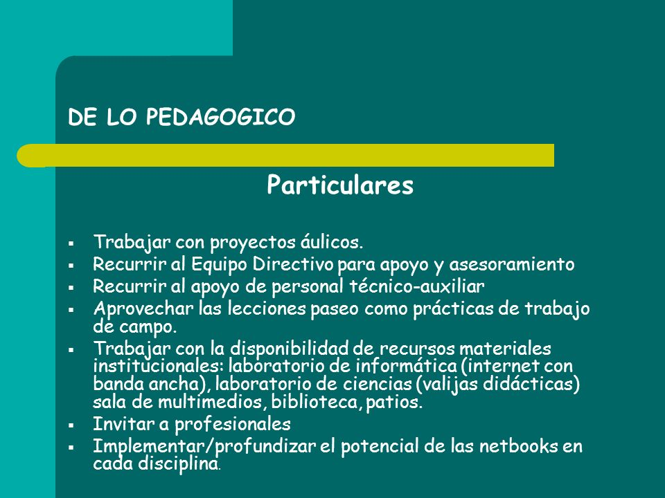 Particulares DE LO PEDAGOGICO Trabajar con proyectos áulicos.