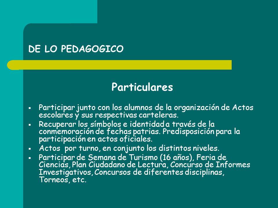Particulares DE LO PEDAGOGICO