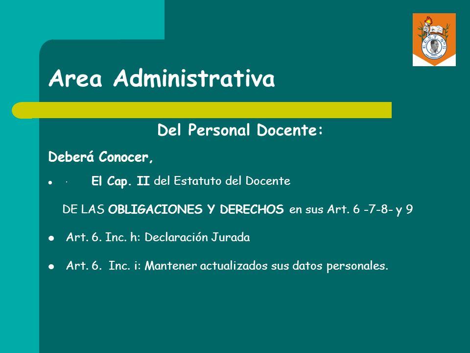 Area Administrativa Del Personal Docente: Deberá Conocer,