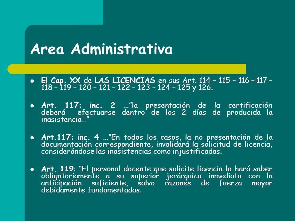 Area Administrativa El Cap. XX de LAS LICENCIAS en sus Art. 114 – 115 – 116 – 117 – 118 – 119 – 120 – 121 – 122 – 123 – 124 – 125 y 126.