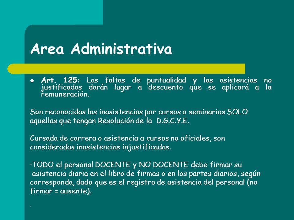 Area Administrativa Art. 125: Las faltas de puntualidad y las asistencias no justificadas darán lugar a descuento que se aplicará a la remuneración.