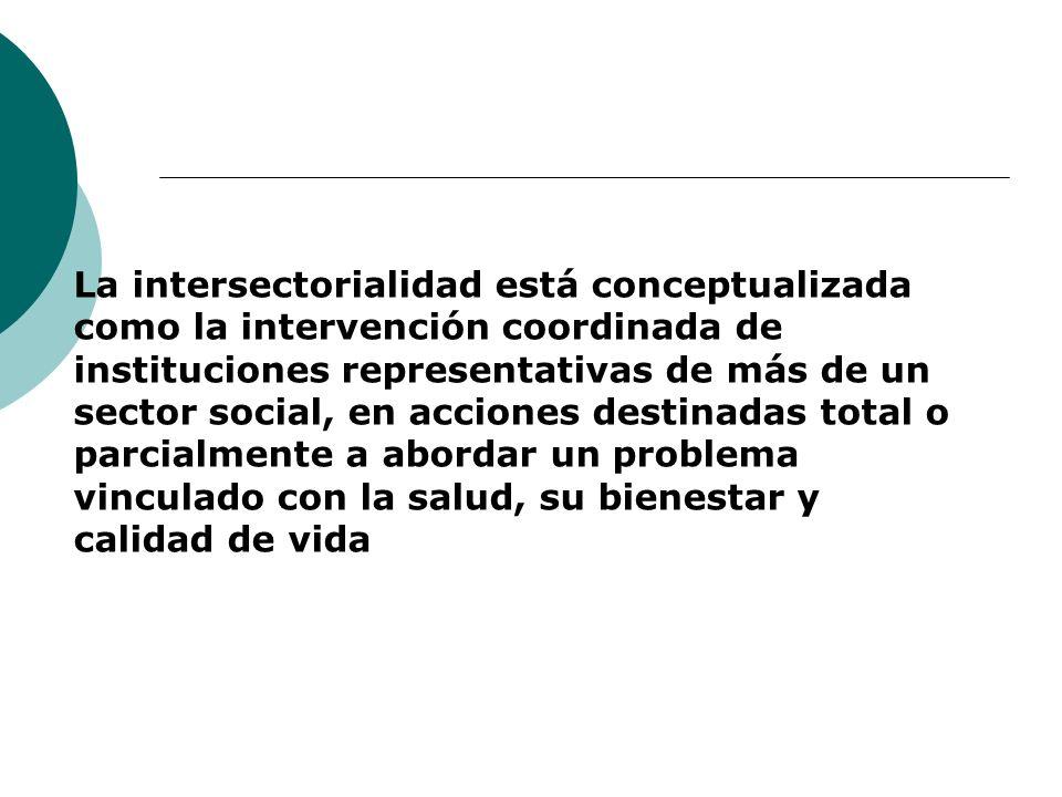 La intersectorialidad está conceptualizada como la intervención coordinada de instituciones representativas de más de un sector social, en acciones destinadas total o parcialmente a abordar un problema vinculado con la salud, su bienestar y calidad de vida