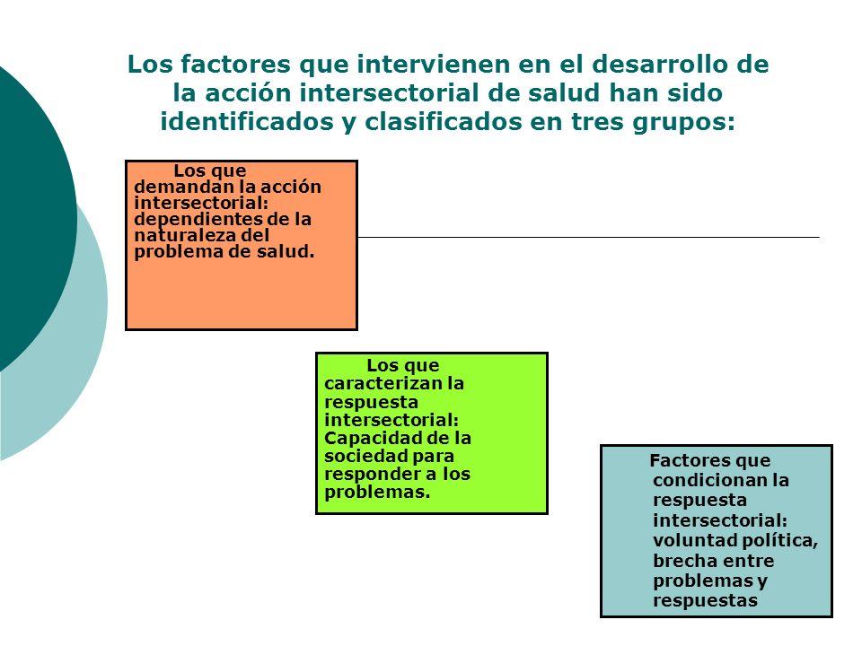Los factores que intervienen en el desarrollo de la acción intersectorial de salud han sido identificados y clasificados en tres grupos: