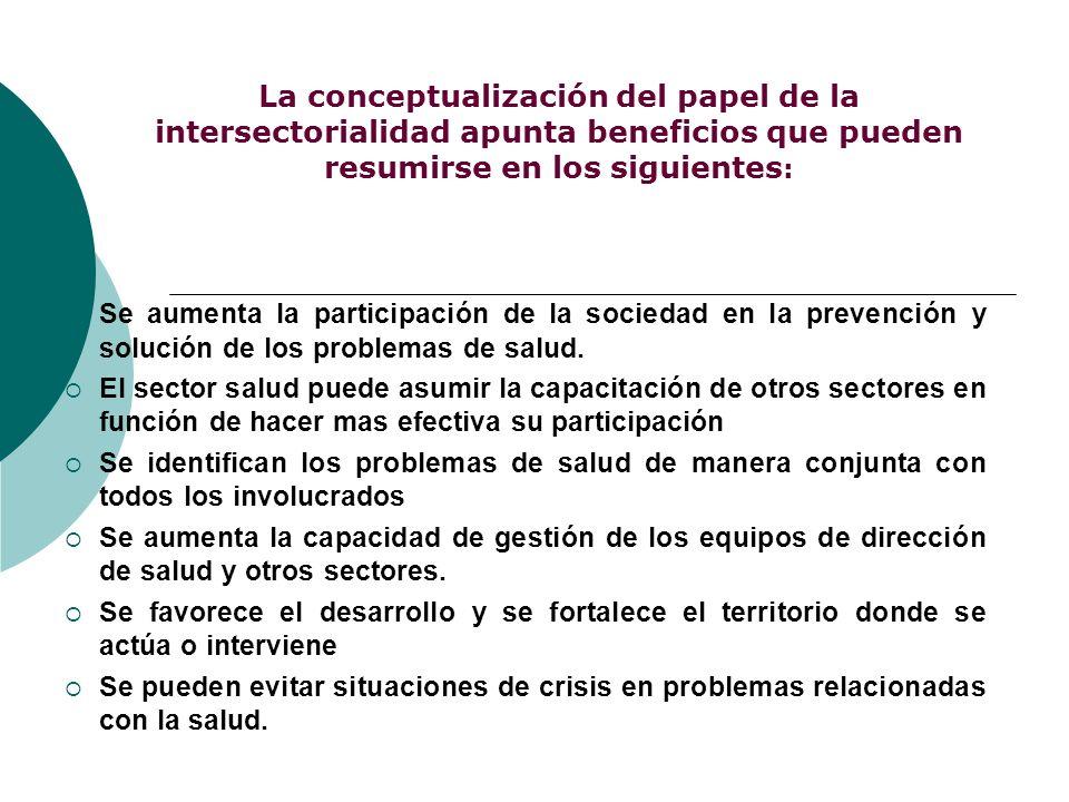 La conceptualización del papel de la intersectorialidad apunta beneficios que pueden resumirse en los siguientes: