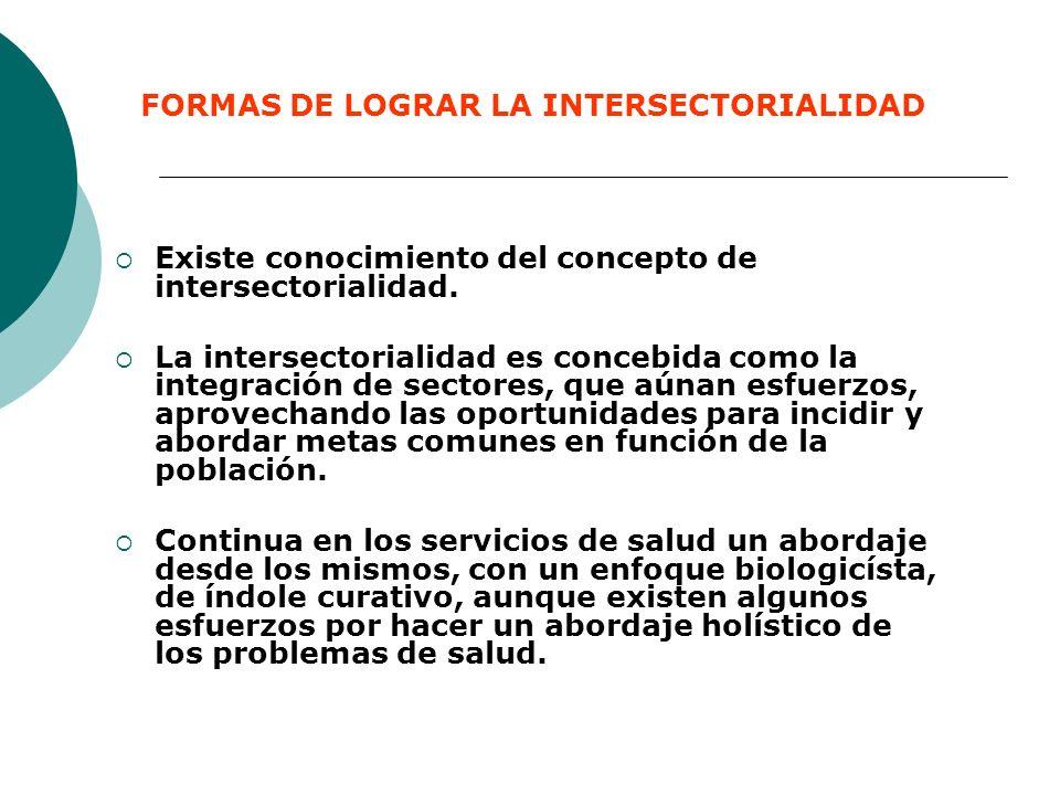 FORMAS DE LOGRAR LA INTERSECTORIALIDAD