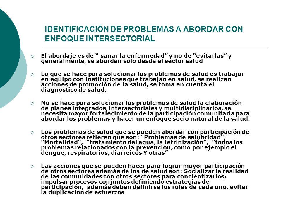 IDENTIFICACIÓN DE PROBLEMAS A ABORDAR CON ENFOQUE INTERSECTORIAL
