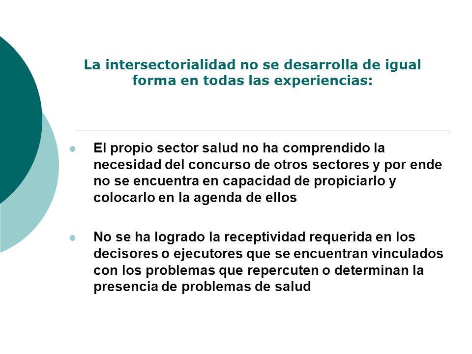 La intersectorialidad no se desarrolla de igual forma en todas las experiencias: