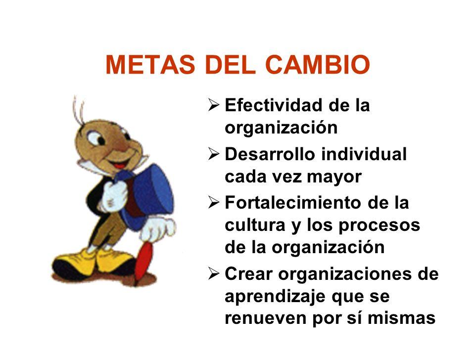 METAS DEL CAMBIO Efectividad de la organización