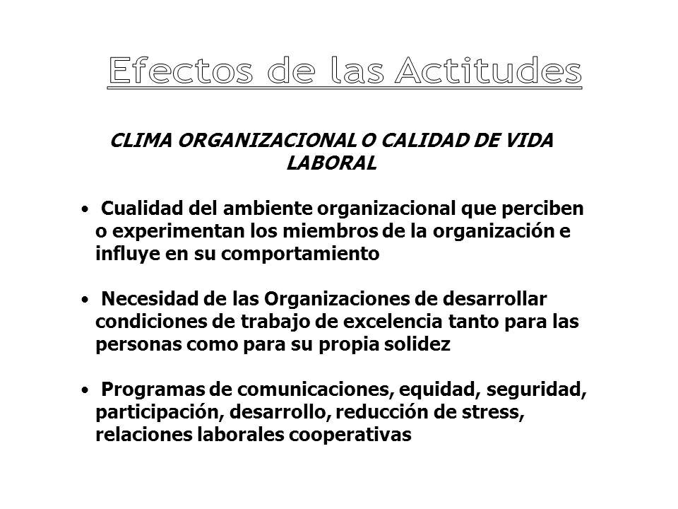 CLIMA ORGANIZACIONAL O CALIDAD DE VIDA LABORAL