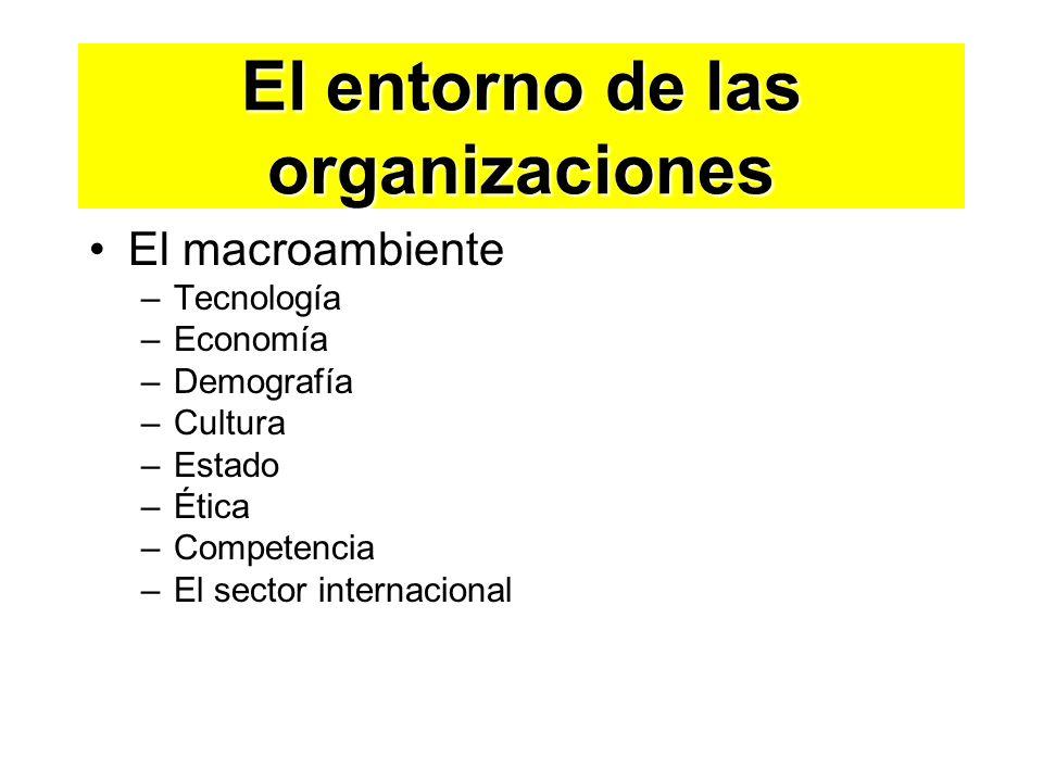 El entorno de las organizaciones