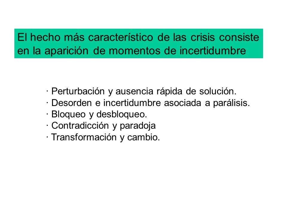 El hecho más característico de las crisis consiste en la aparición de momentos de incertidumbre