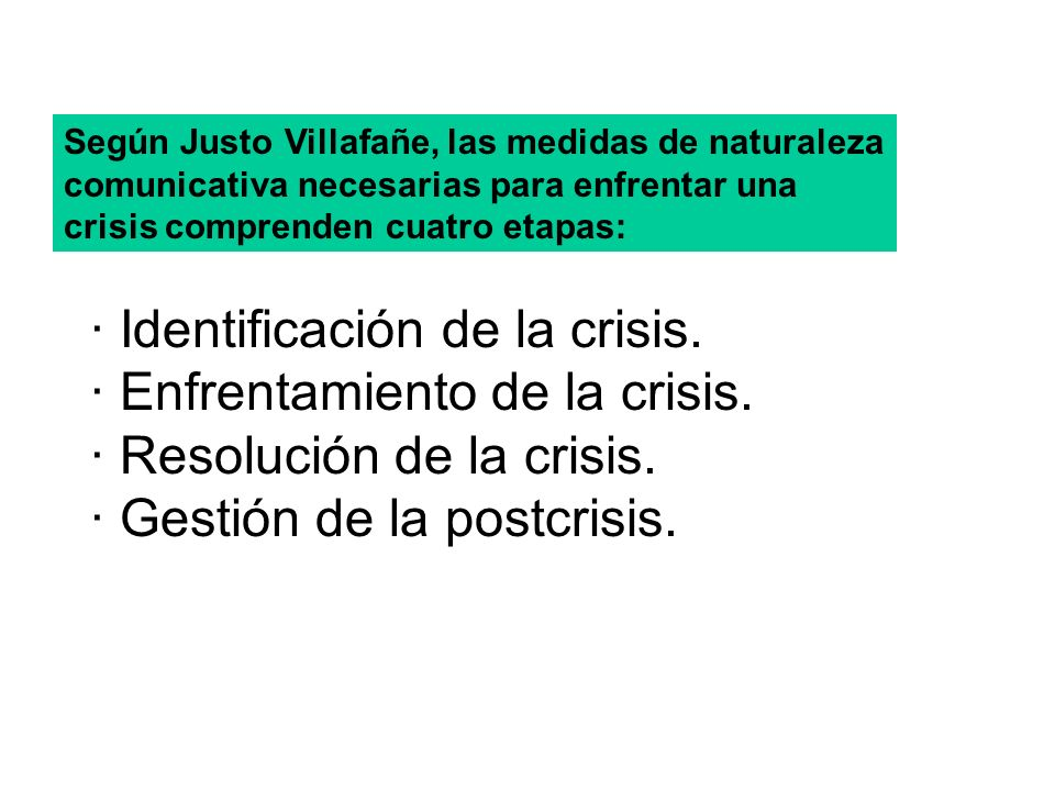 Según Justo Villafañe, las medidas de naturaleza comunicativa necesarias para enfrentar una crisis comprenden cuatro etapas: