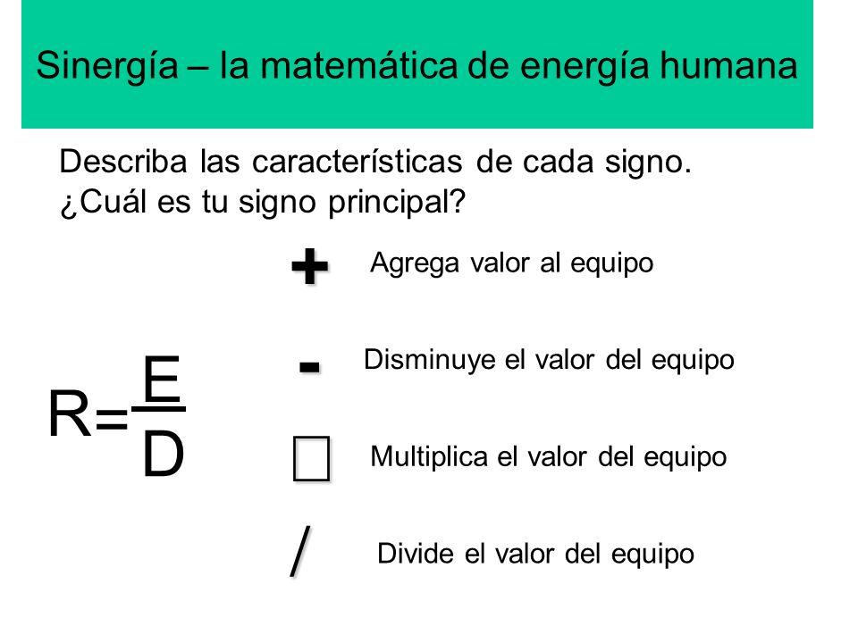 Sinergía – la matemática de energía humana